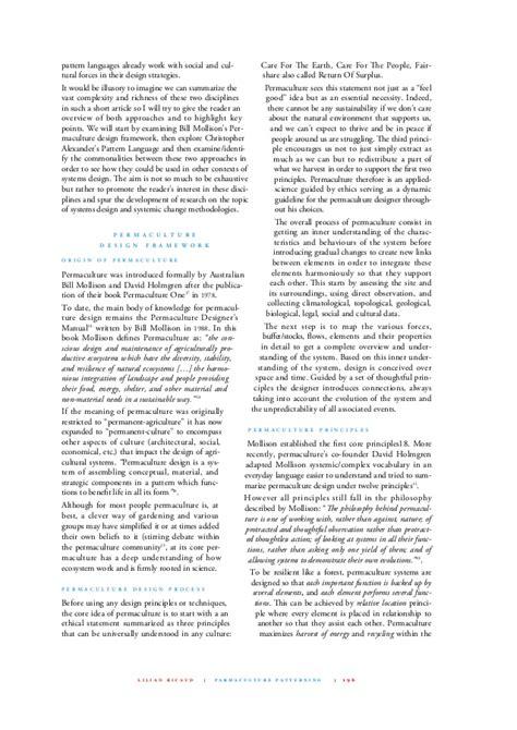 design framework journal article permaculture patterning a design framework for systemic