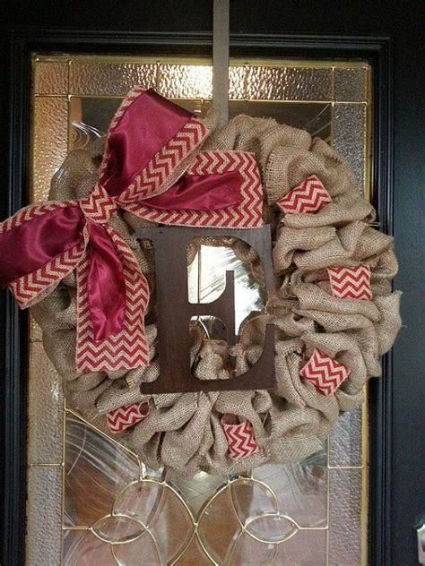 Wreaths In Windows Inspiration Burlap Wreath Large Maroon Bow With Monogram Letter The Ribbon Inspiration And Window
