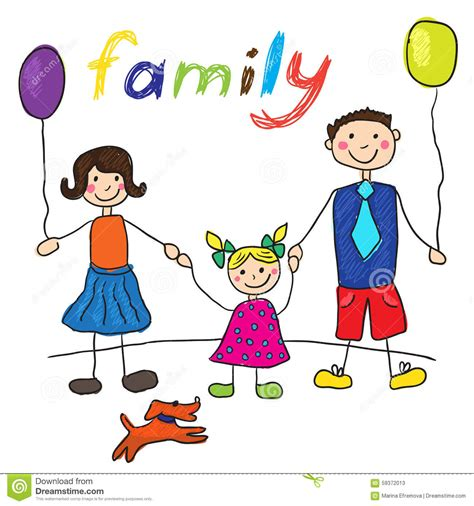 Mother Daughter House Plans by Child S Drawing Happy Family With Dog Father Mother