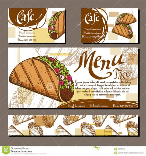 taco card template cafe menu with design fast food restaurant
