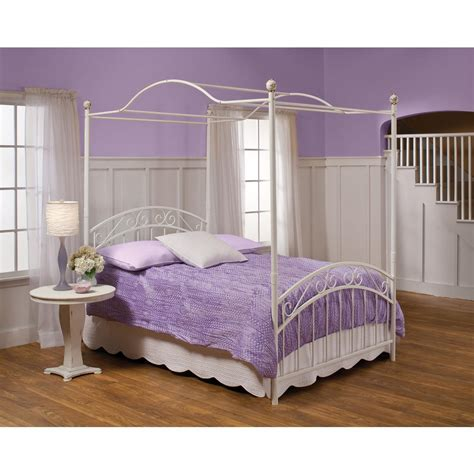 canopy bed full hillsdale furniture emily white full canopy bed 1864bfpr the home depot