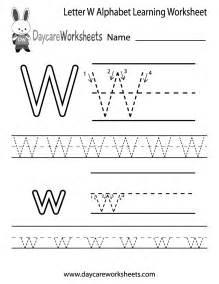 free printable letter w alphabet learning worksheet for