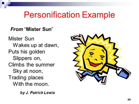 personification exle from mr sun figurative language