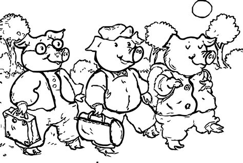 little pig coloring page 3 little pigs walking coloring page wecoloringpage