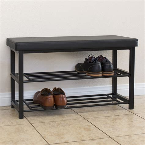 Bench Shoe Rack by 2 Tier Metal Storage Bench Shoe Rack Organize W Leather