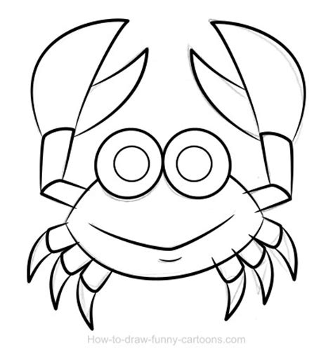 easy crab coloring page crab drawing sketching vector