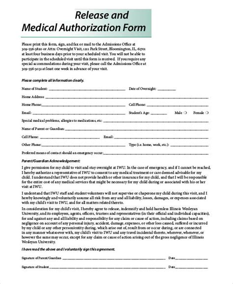 authorization release form 48 printable release form sles templates sle