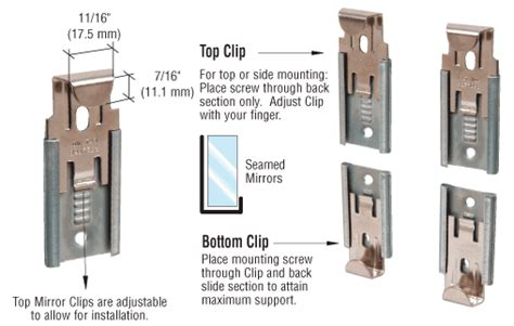 New Bally Money Clip Mirror Tipe A nickel plated adjustable mirror clip set for 1 4 quot seamed