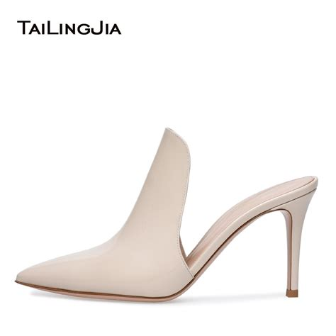 elegant pointed toe high heel beige mules open