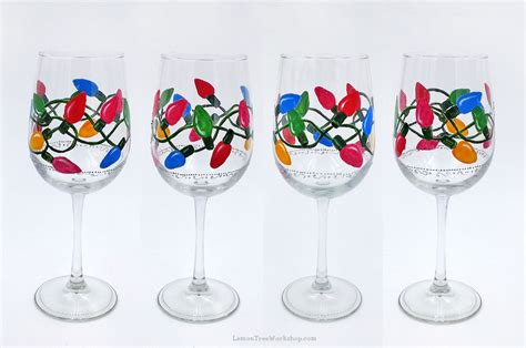 hand painted christmas lights wine glasses set of 4 holiday