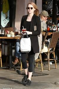 emma stone daily mail emma stone in leggings as she goes business casual in