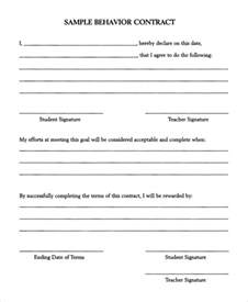 behavioral contract template sle behavior contract 10 exles in pdf word