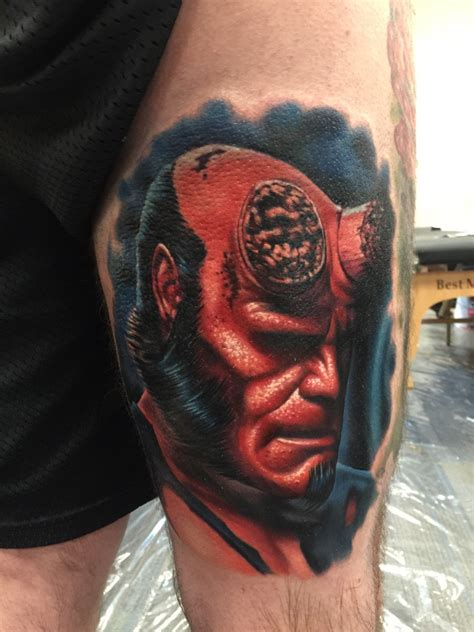 powerline tattoo ri hellboy portrait done by evan olin of powerline in