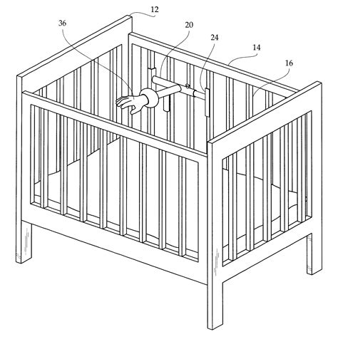 Crib Drawings by Patent Us6485442 Crib Mounted Baby Soothing Device