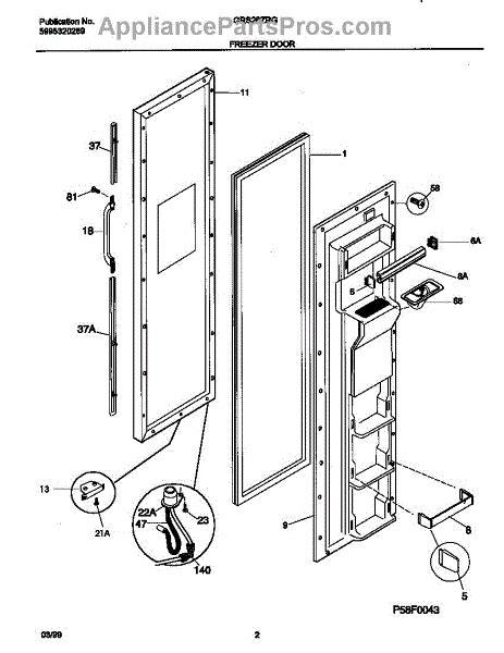 parts for frigidaire grs26zrgd5 freezer door parts