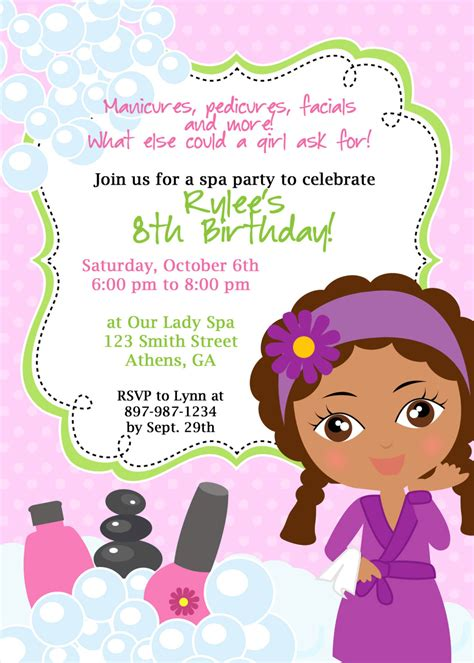 american themed party quotes diy sassy spa party invitation african american little girl