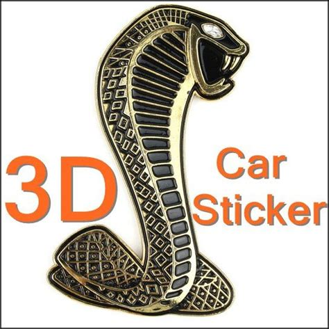 luxury 3d cobra shape decal chrome car sticker badge emblem golden freeshipping in emblems from
