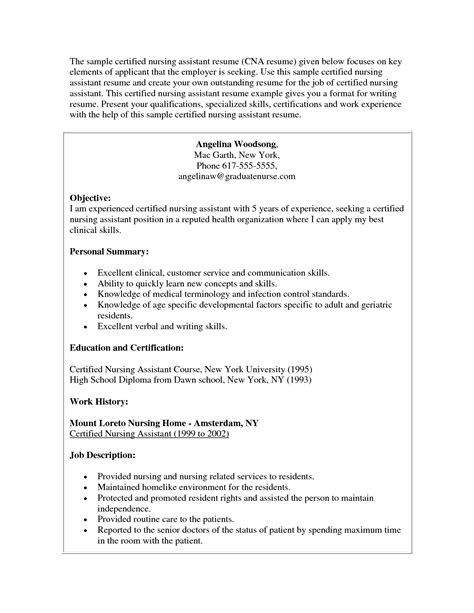sle resume for cna certified nursing assistant resume exles resume