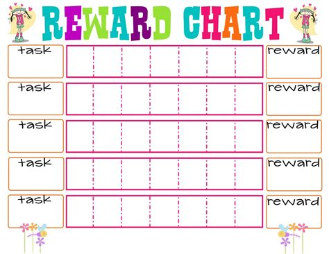 free printable reading reward charts reward chart for teenagers colorful loving printable
