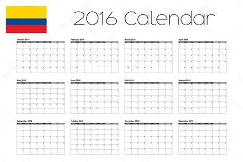 Calendario De Colombia 2016 Calendario 2016 Con La Bandera De Colombia Vector De