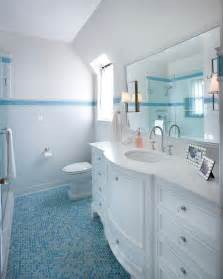 penny tiles: with blue penny tile floor kids white bathroom with blue penny tile