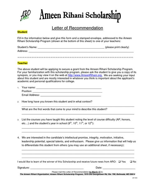Endorsement Letter Format For Scholarship Letter Of Reference For Scholarship Sle Templates
