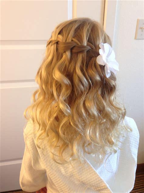 spiral curls waterfall braid cute girls hairstyles communion on pinterest