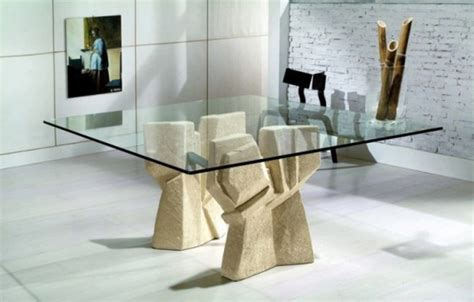 minimalist futuristic glass top dining room table set