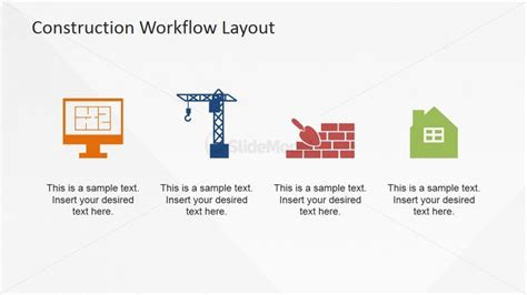 construction workflow 4 step workflow model for construction industry clipart