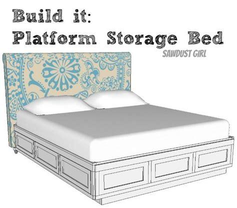 cal king platform storage bed  plans platform bed