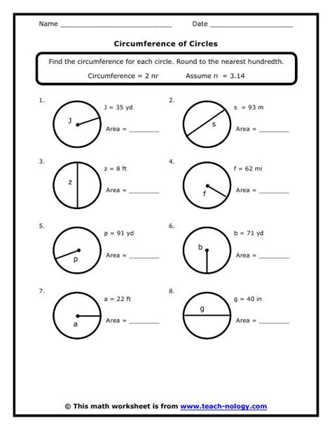 circumference of a circle worksheets 7th grade standard