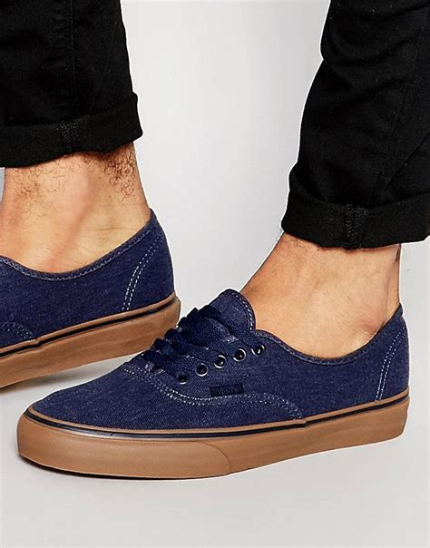 Vans Authentic Navy Sole Gum Premium Bnib Free Tas Sepatu vans vans authentic gum sole plimsolls in blue v4mkil6 at asos