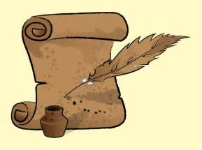 Old scroll and feather