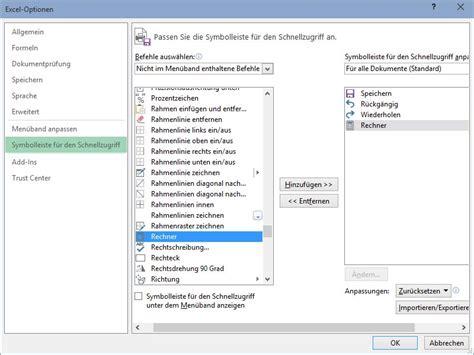excel hintergrund layout windows rechner in die excel schnell zugriffs leiste