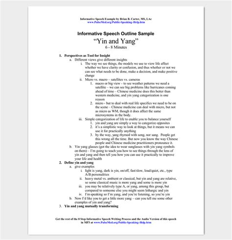 pattern of writing a speech informative speech outline exle outline templates
