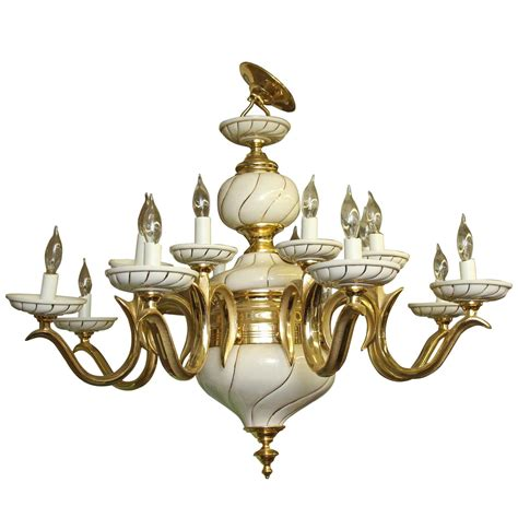 Porcelain Chandelier by 1960s Italian White Porcelain And Brass Sixteen Light