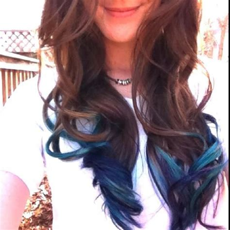 brownish blavk hair with a coiple of blue braids for 10year olds brown hair with blue tips hair pinterest blue tips