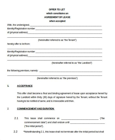 rental property lease agreement template free printable blank lease agreement form 17 free word pdf
