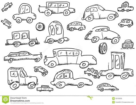 doodle car cars doodle icons set royalty free stock photo image