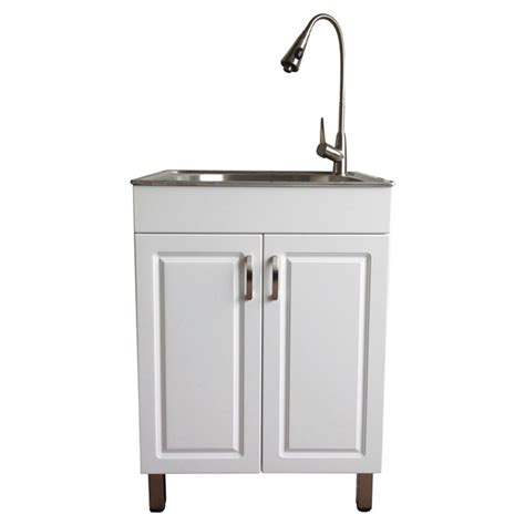 white utility sink with cabinet laundry sink with cabinet flat white rona