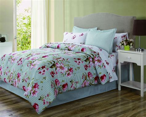 floral comforters essential home complete bed set floral