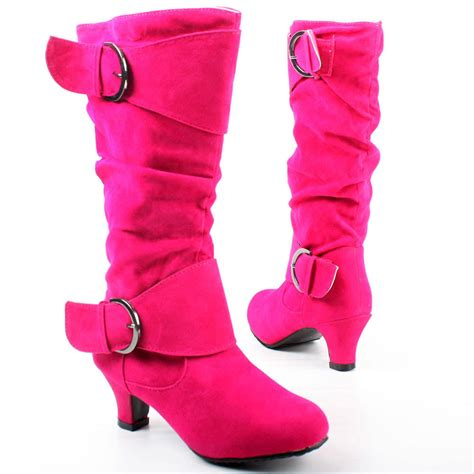 kid high heel shoes west shoes fuchsia kitten heel slouch boot mid calf