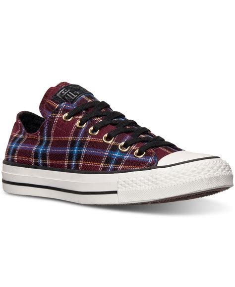 Sepatu Converse Black White Sneakers Casual converse s chuck ox plaid casual sneakers from finish line in purple lyst