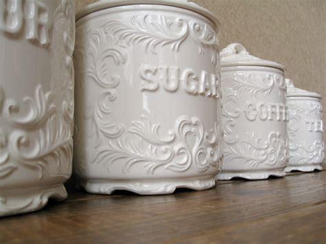 vintage canister set antique white with ornate details vintage canister set antique white with ornate details