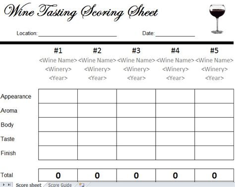 Wine Tasting Sheet Template wine tasting sheet images