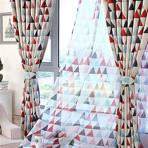 geometric red curtains on sale poly cotton red triangle geometric curtains