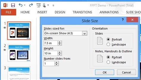How To Change Slide Orientation In Powerpoint 2013 Powerpoint Template Size In Mm