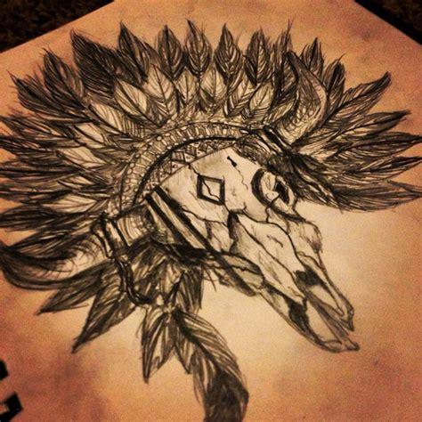 Bull Skull With A Head Dress Custom Design Mas Bull Skull Tattoos With Feathers