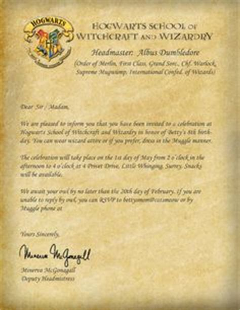 Harry Potter Acceptance Letter Age 1000 Images About Harry Potter On Harry Potter Harry Potter Invitations