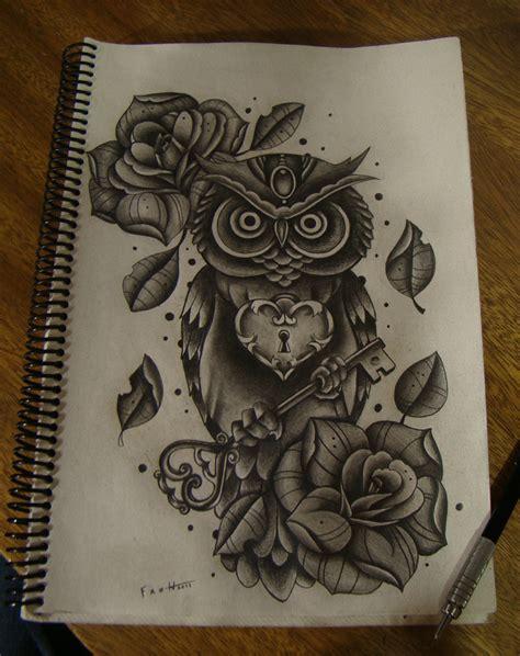 tattoo owl key owl key by frah on deviantart